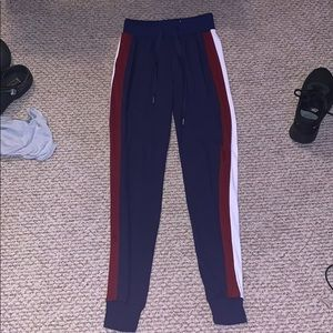red white and navy blue joggers